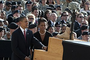 Taking part in a Nov. 10, 2009, memorial servi...