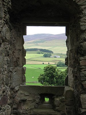English: Glenbuchat Castle - through the windo...