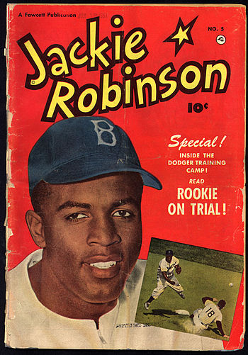 Front cover of Jackie Robinson comic book (iss...