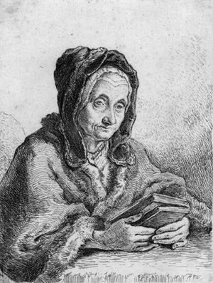 English: Old woman with a prayer book in her h...