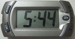 My LCD clock with LED backlight. My own image,...
