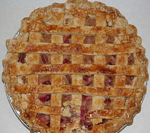 Homemade rhubarb pie with lattice crust