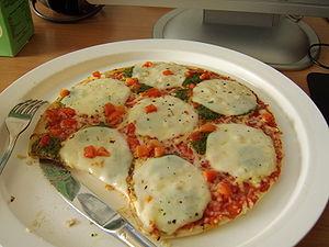 """A """"mozzarella"""" pizza."""