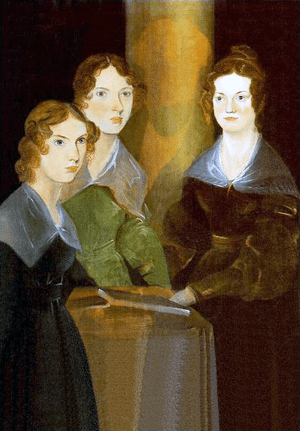 English: A painting of the three Brontë sister...