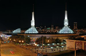 Nighttime panorama of the Oregon Convention center