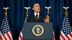 President Barack Obama speaks from the on the ...