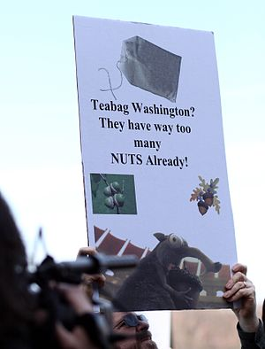 A protester's sign at the April 15, 2009, Hart...