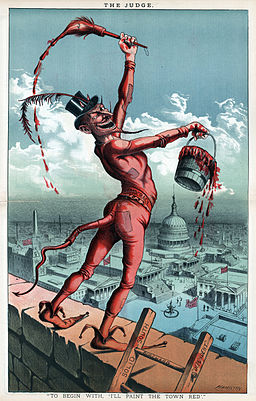 """I'll paint the town red"", political cartoon, 1885"