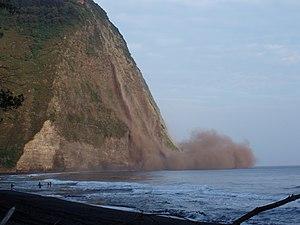 Cliff collapsing in Waipi'o Valley, Hawai'i du...