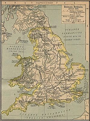 Map of Roman Britain, showing the road from Cl...