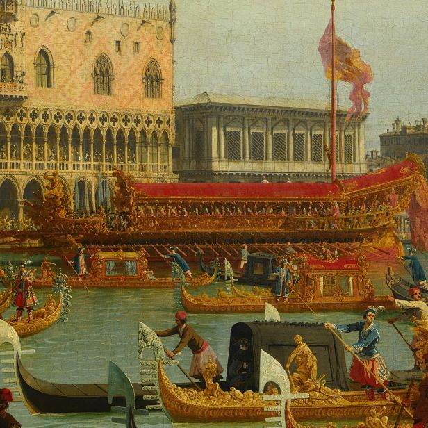 Canaletto - Bucentaur's return to the pier by the Palazzo Ducale - Google Art Project-x2-y1