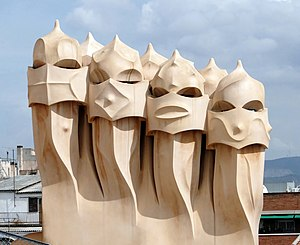 Ventilation towers on the roof of Casa Milà de...