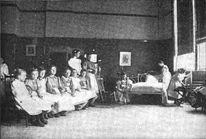 1898 photograph of a group of young girls lear...