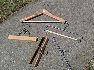 Various clothes hangers