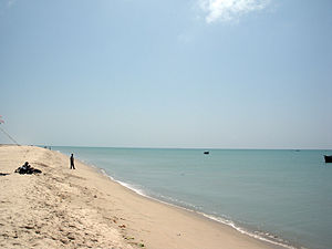 The beach near Dhanushkodi Town. The metal roa...