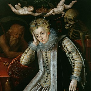 The Allegorical Portrait of Elizabeth I with Old Father Time at her right. Death is looking over her left shoulder while two Cherubs remove her weighty crown. so she became princess but not queen