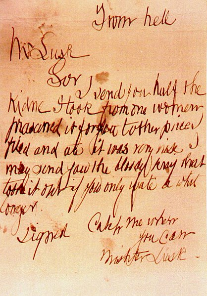 """Jack the Ripper's Infamous """"From Hell"""" Letter"""