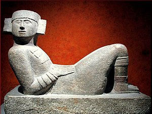 Chac Mool statue from Chichen Itza displayed a...
