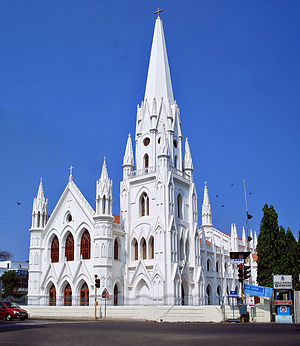 Front view of the Santhome Basilica in Chennai