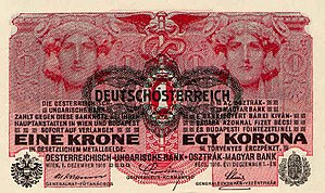 One Krone-note from 1919 (overprinted on 1 Kro...