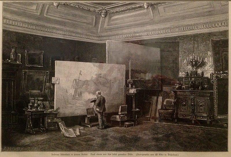 FileAndreas Achenbach in seinem Atelier Holzstich Brendamour Dsseldorf nach Foto von W Otto