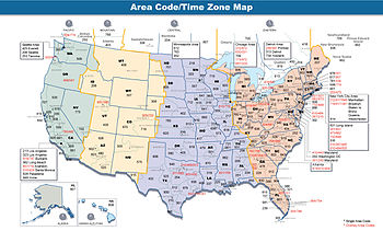English: Map of area codes in the United State...