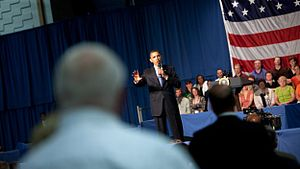 President Barack Obama speaks at a town hall m...