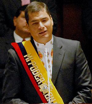 Español: Rafael Correa durante su discurso de ...