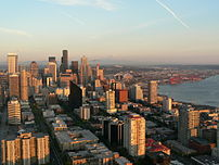 A view of Downtown Seattle (and, beyond that, ...