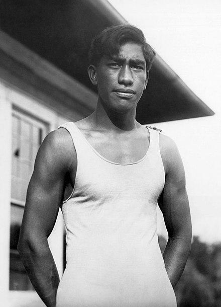 Duke Kahanamoku in 1912 via Wikipedia.