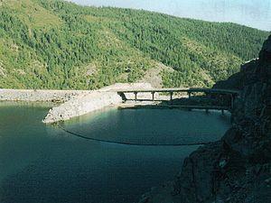 Lower Hellhole Dam, concrete, rebuilt 1966