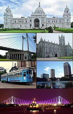 Clockwise from top: Victoria Memorial, St. Paul's Cathedral, central business district, Howrah Bridge, city tram line, Vidyasagar Bridge