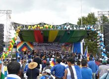 MAS-IPSP partisans celebrate the 16th anniversary of the IPSP party's founding in Sacaba, Cochabamba.