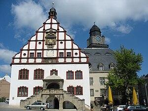 Deutsch: Plauen, Giebel des Alten Rathauses un...