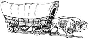Line art drawing of prairie schooner.