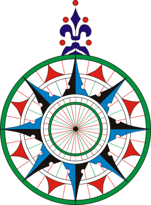 replica of compass rose in Pedro Reinel nautic...