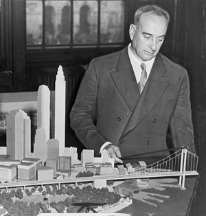 Robert Moses, American urban planner, with a m...