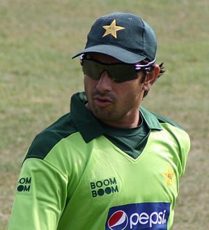 English: Saeed Ajmal in the field during a 50-...
