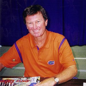 English: Steve Spurrier at fan day while coach...