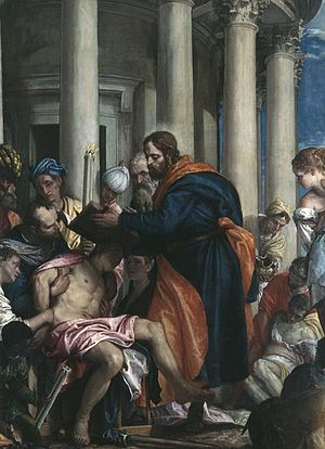 Saint Barnabas curing the poor by Paolo Verone...