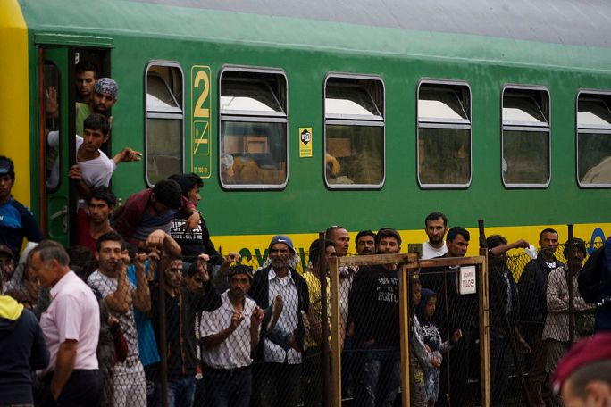 Syrian refugees strike in front of Budapest Keleti railway station. Refugee crisis. Budapest, Hungary, Central Europe, 4 September 2015