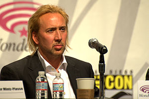 Nicolas Cage at a panel for Kick-Ass a WonderC...