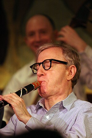 Woody Allen playing his clarinet in concert in...