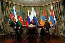 Aliyev with Russian President Dmitry Medvedev and Armenian President Serzh Sargsyan, 23 January 2012