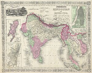 1864 Johnson's Map of India (Hindostan or Brit...