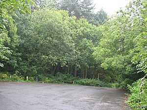 English: Car park, Polmont Wood Very quiet on ...
