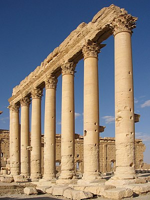 Columns in the inner court of the Temple of Ba...