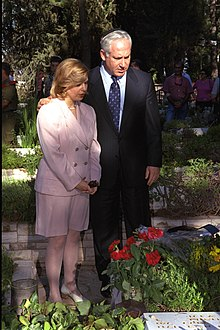 Benjamin Netanyahu at the grave of his brother Yoni Netanyahu, who was killed leading a counter-terrorist operation in 1976