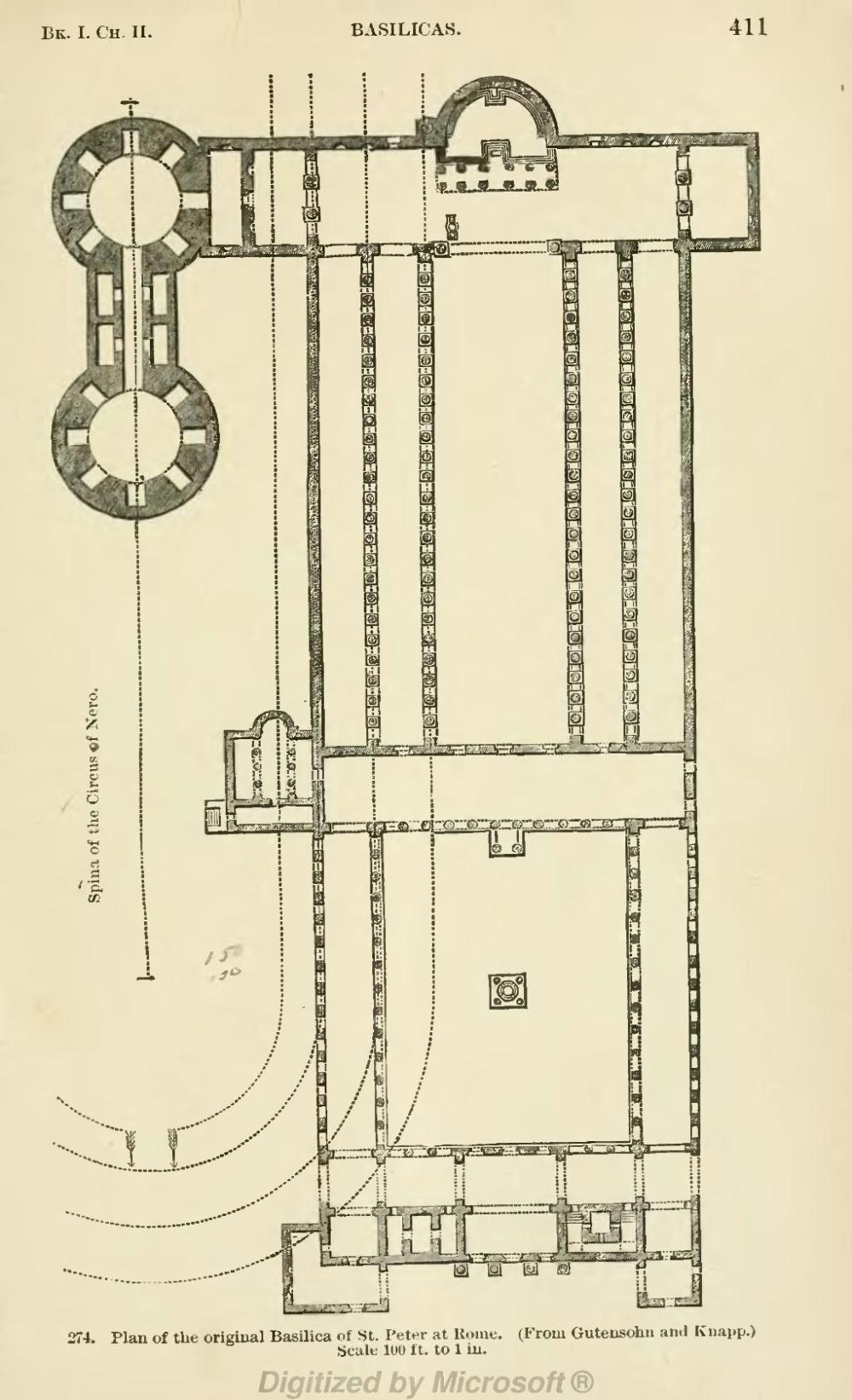medium resolution of plan of the original basilica of st peter at rome from gutensohn and knapp scale l00 ft to 1 in