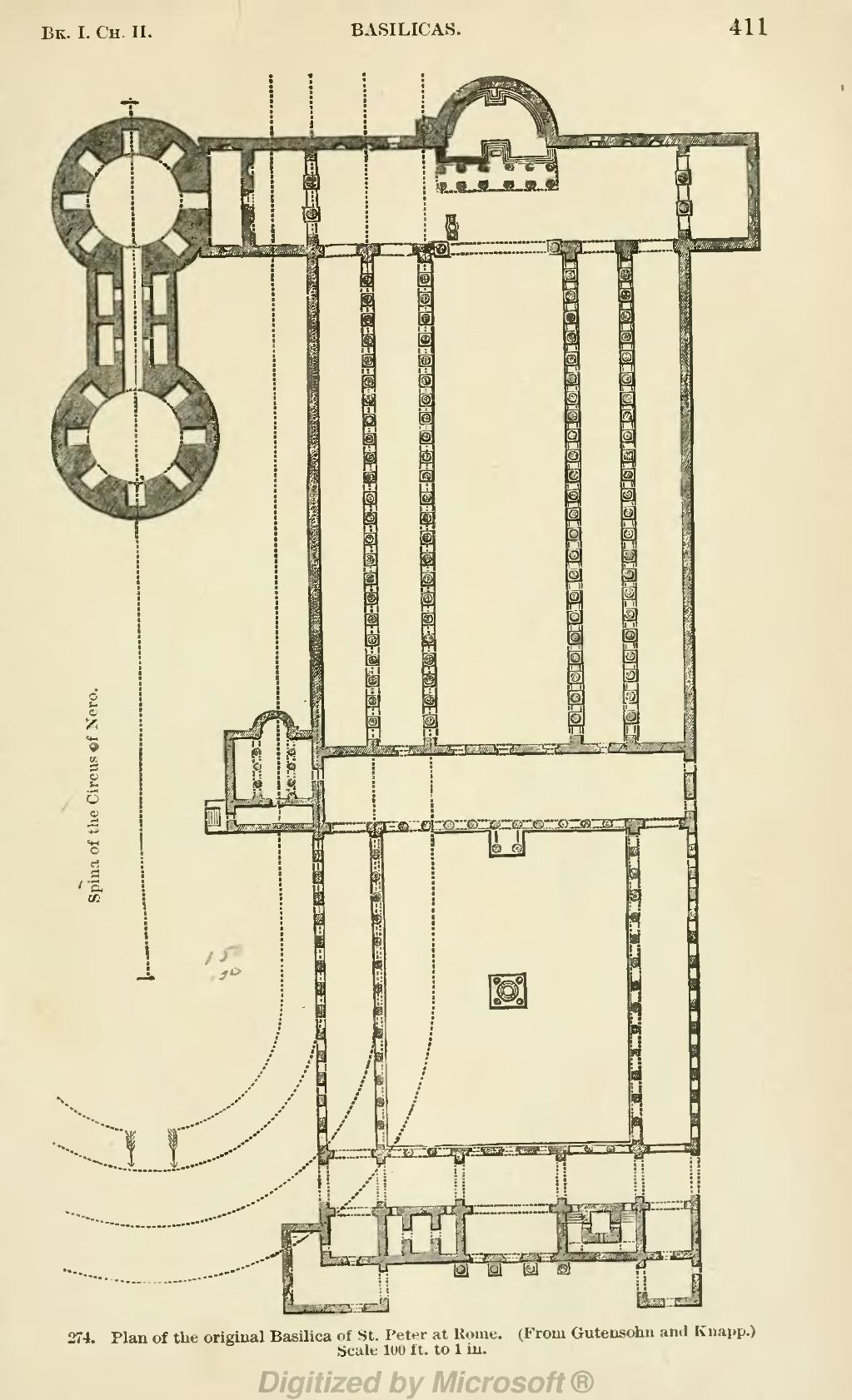 hight resolution of plan of the original basilica of st peter at rome from gutensohn and knapp scale l00 ft to 1 in